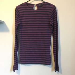 French Connection Striped Shirt With Shoulder Pads