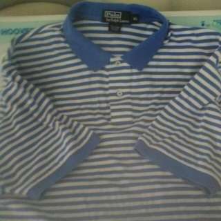 Polo Shirt XL Authentic Blue White black Stripe X L Ralph Lauren Extra large Extralarge