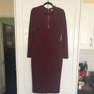 ASOS Burgundy Long-sleeve Fitted Midi Dress Size 14