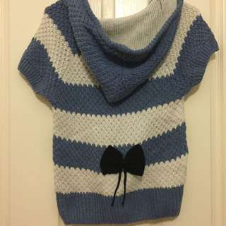 Blue And White Stripes Knitted Hoodie Top