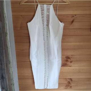 White Sheike Dress Size 8