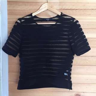 Sheer Black Piper Top S