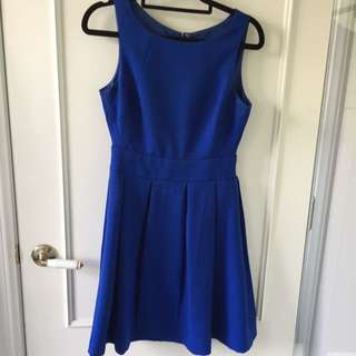 Sapphire Blue Fitted A Shape Dress With Pleated Skirt