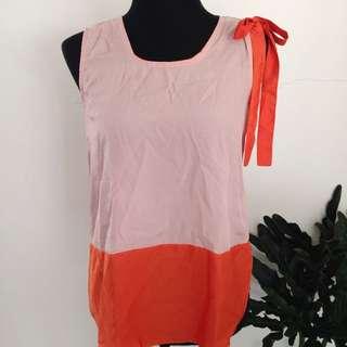 Pink & Coral Shoulder Bow Top