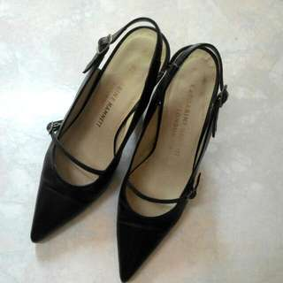 Katharine Hamnett London黑色尖頭繫帶高跟鞋