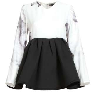 Elmira Structured Peplum Blouse - White Smoke/Black