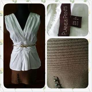 repriced white top and knitted skirt. (one set)
