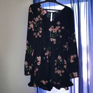 Black Floral Playsuit