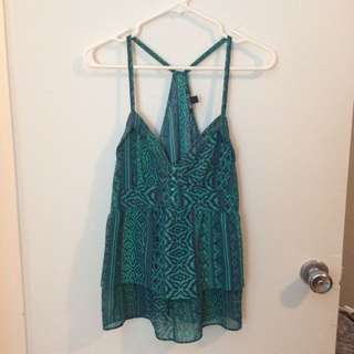 Teal and blue aztec print tank top