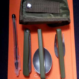 Foldable Spoon, Fork & Knife Set W/ Carrying Case