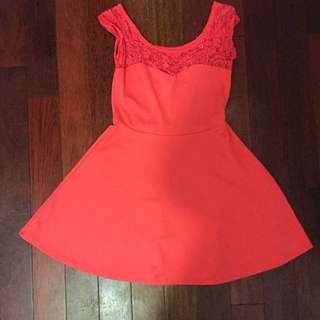 Peach Coloured Dress with Lace Detailing