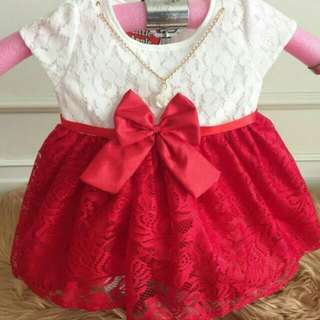 Baby Red And White Arietta Dress
