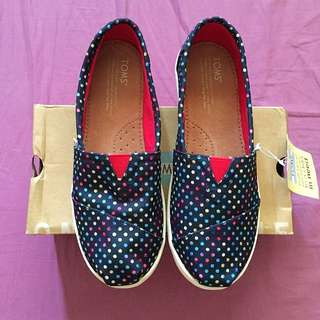 TOMS Classic Blue Poly Canvas Dots