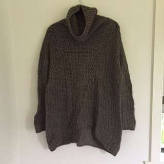 Wool / Alpaca / Acrylic Roll Neck Jumper Size M