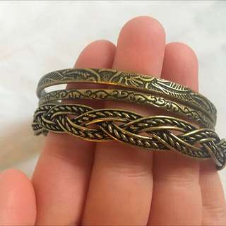 Brass Bangles with Black Detailing