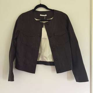 Flannel Leather Jacket BNWT Size 3