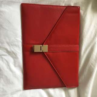 Woman's Red Clutch With Red Buckle