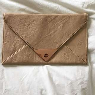 Women's Nude Clutch With Rose Gold Detailing