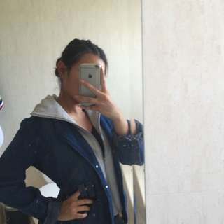 Thin Denim Jacket With Grey Hoodie || Size S