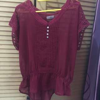 Pull And Bear Maroon Blouse