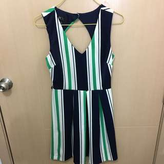Blue, Green, White Stripes Dress