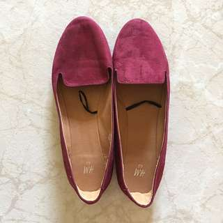 H&M Ladies Shoes In Wine Red UK 7