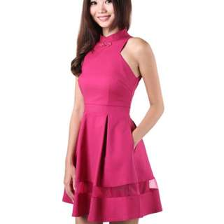 Mgplabel Sleek Organza Dress In Magenta