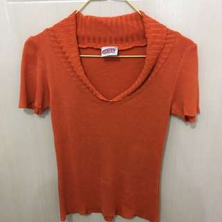 Orange Knitted V-neck Top