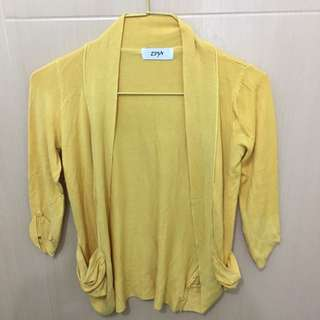 Yellow Cardigan with Pockets