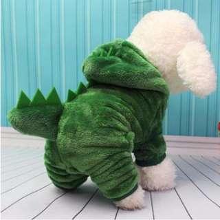 88雜貨鋪 寵物變身裝 恐龍四腳變身絨衣 貓狗衣服 貴賓/博美/吉娃娃/雪納瑞