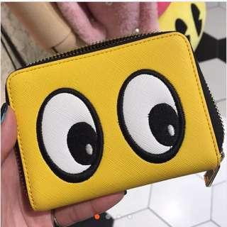 大眼睛皮夾零錢包-黃色