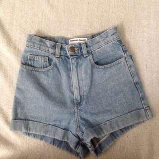 American Apparel High Wasted Shorts Denim