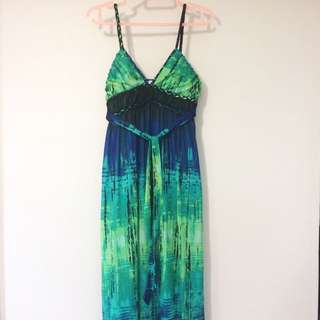 Hot Options Maxi Dress Green Blue