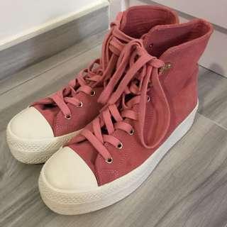 IT Puzzle Converse款 豆沙粉紅 高筒布鞋  波鞋 休閒鞋 Sneakers