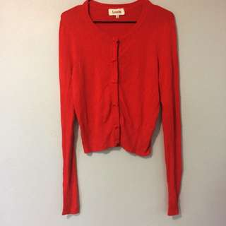 Louche Cardigan Red W/ Bow Buttons