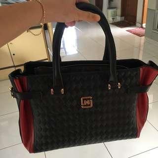 Handbag impor Import Tote Bag Totebag Tas Kulit Hitam Merah Black Red