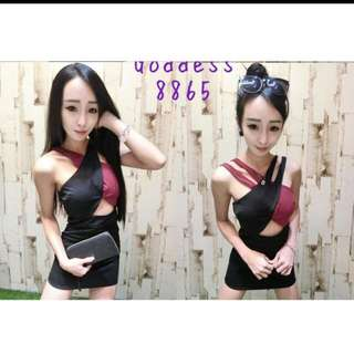 全新現貨❤韓國性感交叉削肩撞色包臀洋裝