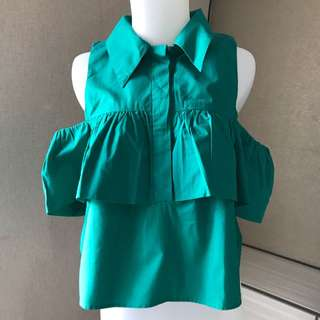 Never Been Used Green Sabrina Top