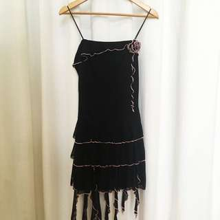 Black Ruffled Dress With Rose Accent