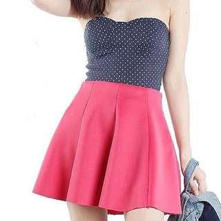 (CLEARANCE) BNWT TTR Flippy Scuba Skirt In Cerise Pink