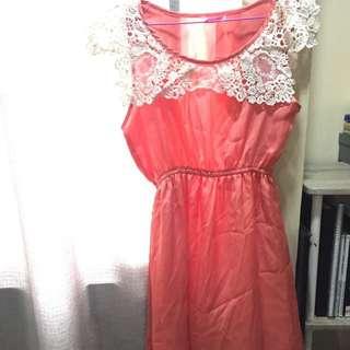 JELLYBEAN Salmon Pink Lace Dress