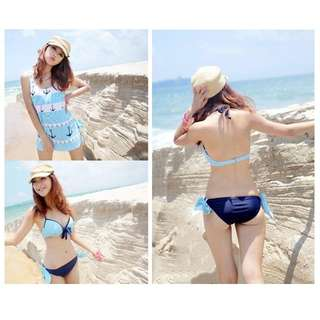 Female Blue Striped Sailor Bikini - S Size