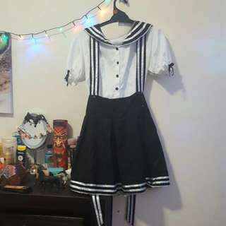 Black And White Sailor Suit Size 9-10