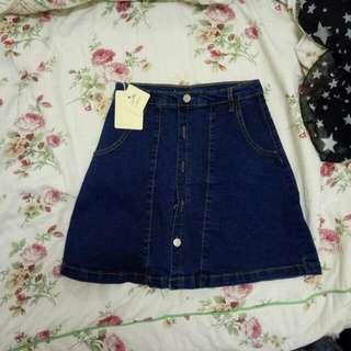全新  顯瘦牛仔深藍短裙 L