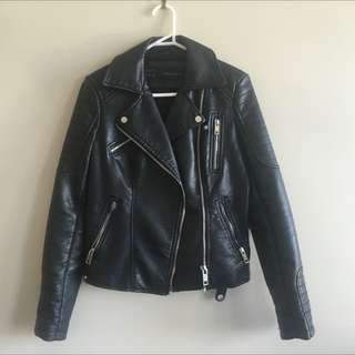 Zara Faux Leather Motorcycle Jacket Quilted Padded Sleeves