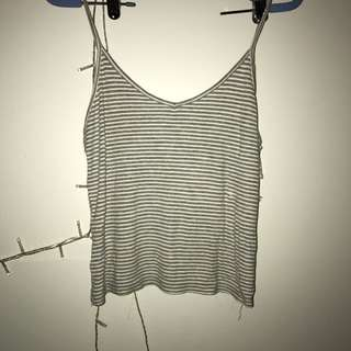 Striped Grey And White Singlet Top