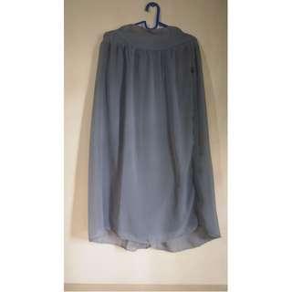 Long Skirt - Grey, Chiffon