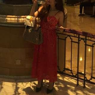 Brokat Dress Red