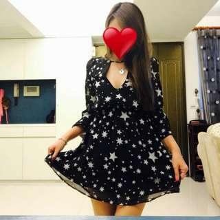 (保留)降價!!!Scrappycoco 同款 辣到沒朋友的星星雪紡短洋裝