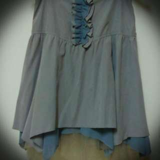 淺灰絨布 造型多層次短裙